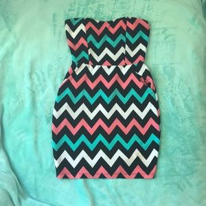 Strapless Chevron Dress with Pockets!